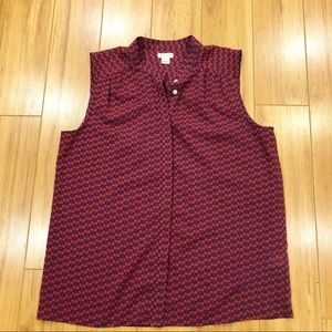 J crew sleeveless cherry blouse